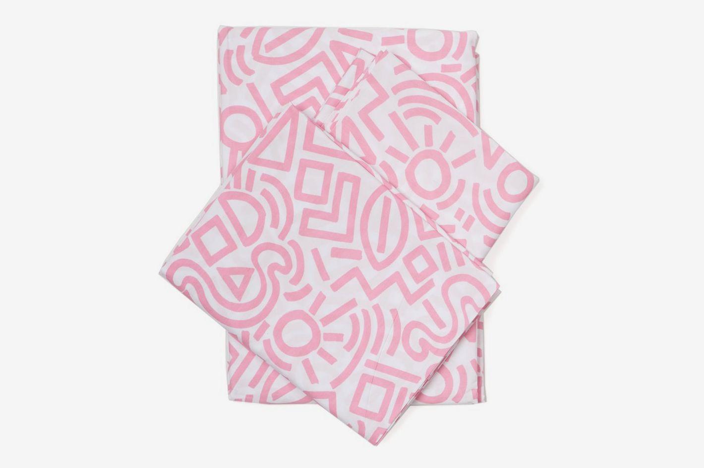 Aelfie Doodle Sheet Set Pink, Full