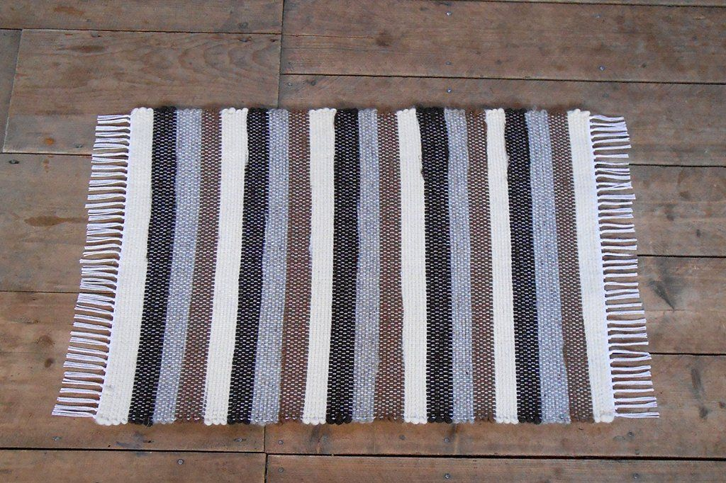Vermont Rug Farm Wool Rug / Brown, Gray, White Stripes