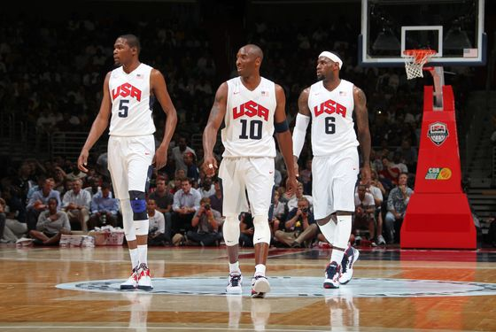 WASHINGTON, DC - JULY 16:  Kevin Durant #5, Kobe Bryant #10 and LeBron James #6 of the USA Men's Senior National Team during a break against Brazil at the Verizon Center on July 16, 2012 in Washington, DC. NOTE TO USER: User expressly acknowledges and agrees that, by downloading and or using this photograph, User is consenting to the terms and conditions of the Getty Images License Agreement. Mandatory Copyright Notice: Copyright 2012 NBAE (Photo by Ned Dishman/NBAE via Getty Images)