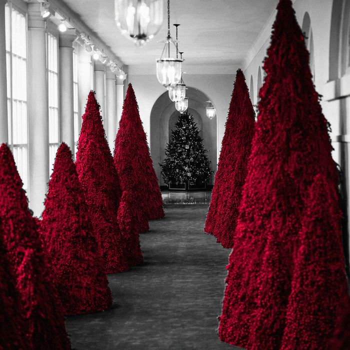 searching for meaning in melania trump s red christmas trees