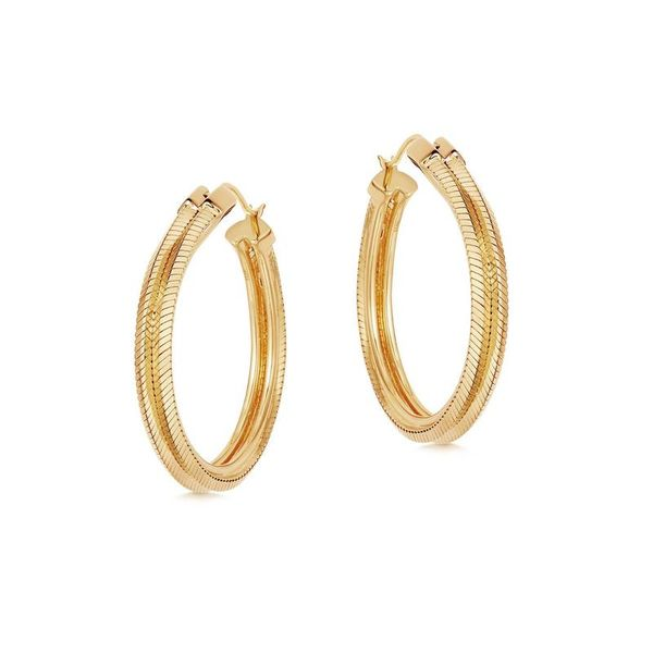 Square Snake Chain Hoop Earrings