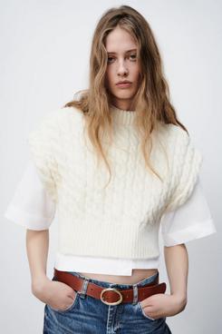 Zara Cable Knit Cropped Vest