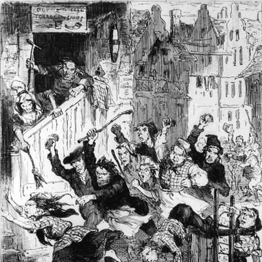 An angry mob pursues Helen MacDougal, mistress of serial killer William Burke, through the streets of Edinburgh, circa 1829. Burke, with his accomplice William Hare, murdered nine people, selling the bodies to medical schools for dissection.