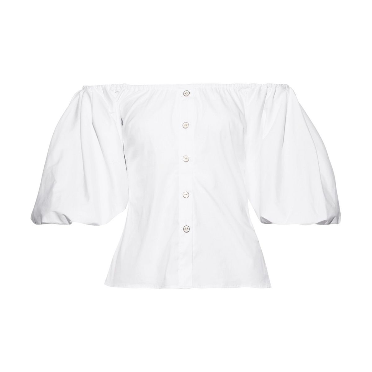 Jolie off-the-shoulder cotton-blend poplin top