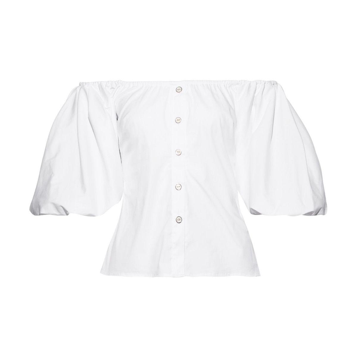 Jolie off-the-shoulder cotton-blend poplin top