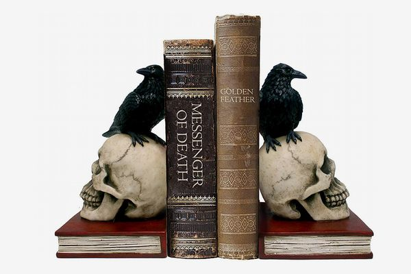 Set of 2 Raven on Skull Bookends