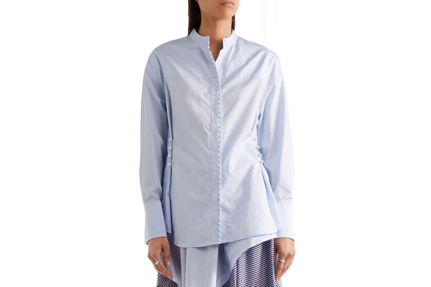 3.1 Phillip Lim Faux Pearl-Embellished Cotton-Poplin Shirt