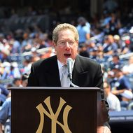 Broadcaster John Sterling of the New York Yankees introduce the players during the teams 64th Old-Timer's Day before the MLB game against the Tampa Bay Rays on July 17, 2010 at Yankee Stadium in the Bronx borough of New York City.