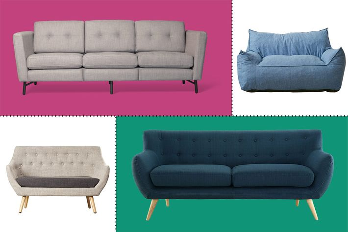 collage of modway remark, latitude run zack midcentury fabric loveseat, urban outfitters larson loveseat, and borrow sofa - strategist best home decor and best sofas under $1000