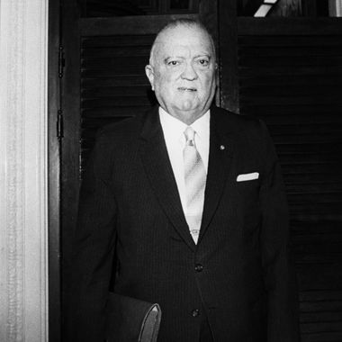 Picture released on December 1, 1970 of John Edgar Hoover, Director of the Federal Bureau of Investigation (FBI) of the United States, leaving the Senate Appropriations Subcommittee, in Washington. (Photo credit should read -/AFP/Getty Images)