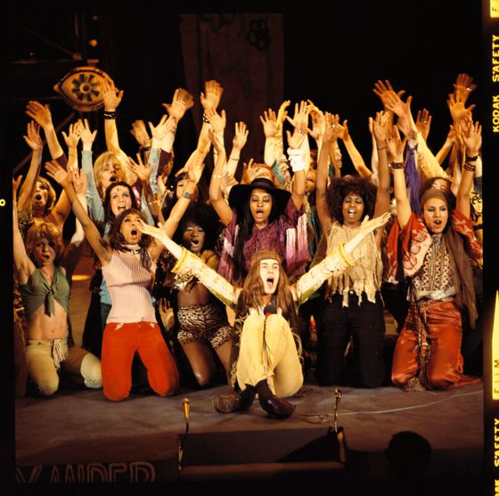 """Gimme head with hair, long beautiful hair. Shining, gleaming, streaming, flaxen, waxen, gimme down to there hair."" James Rado and Jerome Ragni brought the ""Age of Aquarius"" to Broadway with their multiracial tribe of long-haired hippies in 1968. An emblem of the counterculture's anti-Establishment views, a hippie's hair was the most personal of protests, even when placed on a musical's stage."