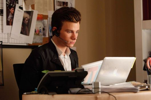"GLEE: Kurt (Chris Colfer) is an intern at the Vogue.com offices in the ""Break Up"" episode of GLEE."