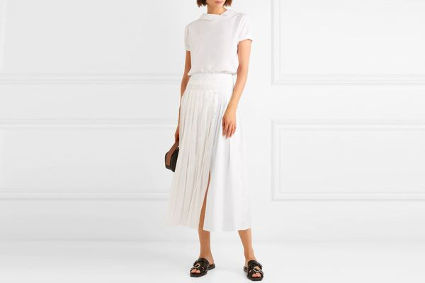 3.1 Phillip Lim Pleated satin and cotton-poplin midi skirt