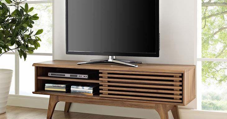 Dark Wood Tv Credenza : Corridor modern slats tv cabinet stand storage credenza dark