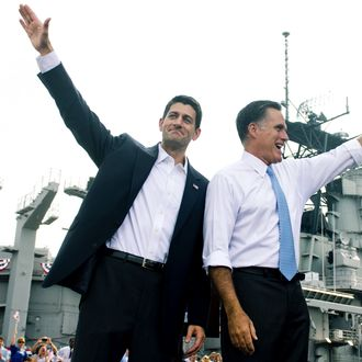 US Republican presidential candidate and former Massachusetts Governor Mitt Romney announces Wisconsin Representative Paul Ryan(R) as his vice presidential running mate during a campaign rally at the Nauticus Museum after touring the USS Wisconsin in Norfolk, Virginia, August 11, 2012. Romney and his new running mate embark on the first day of a 4-day bus trip that will take the White House hopefuls to 4 key swing states, Virginia, North Carolina, Florida and Ohio.