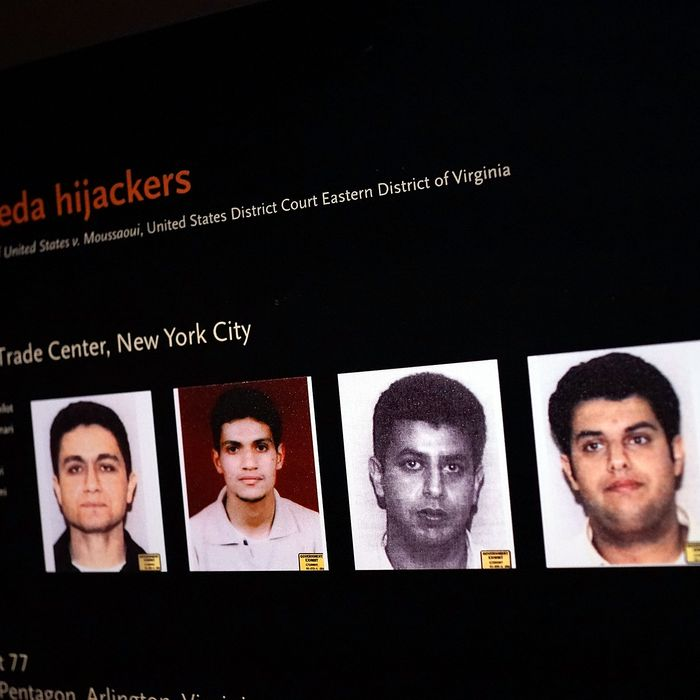 NEW YORK, NY - MAY 14: Pictures of some of the September 11 hijackers are viewed during a preview of the National September 11 Memorial Museum on May 14, 2014 in New York City. The long awaited museum will open to the public on May 21 following a six-day dedication period for 9/11 families, survivors, first responders, workers, and local city residents. For the dedication period the doors to the museum will be open for 24-hours a day from May 15 through May 20. On Thursday President Barack Obama and the first lady will attend the dedication ceremony for the opening of the museum. While the construction of the museum has often been fraught with politics and controversy, the exhibitions and displays seek to pay tribute to the 2,983 victims of the 9/11 attacks and the 1993 bombing while also educating the public on the September 11 attacks on the World Trade Center, the Pentagon and in Pennsylvania. (Photo by Spencer Platt/Getty Images)