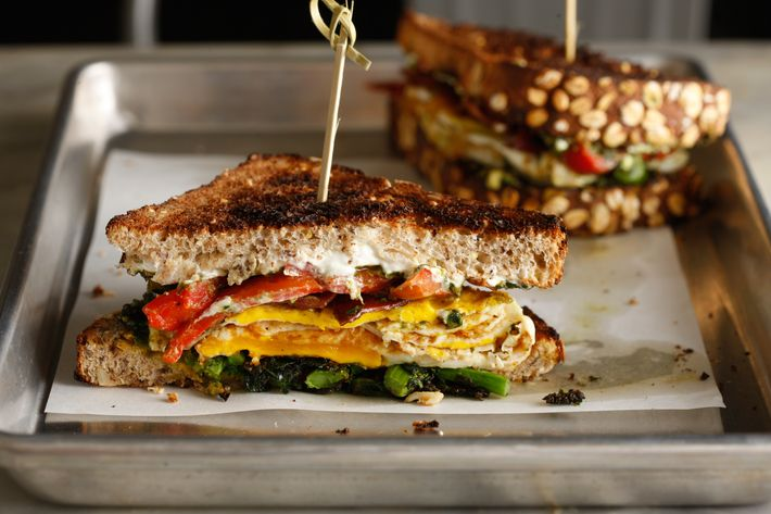 The Chelsea Lo-Cal: Turkey bacon, roasted peppers, broccoli rabe, pesto yogurt sauce, multi-grain toast.