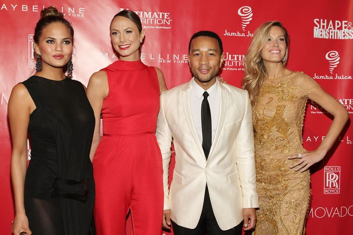 NEW YORK, NY - JANUARY 31:  Christine Teigen, Stacey Keibler, John Legend and Petra Nemcova attend the Super Bowl XLVIII Party Hosted By Shape And Men's Fitness at Cipriani 42nd Street on January 31, 2014 in New York City.  (Photo by Mireya Acierto/Getty Images)