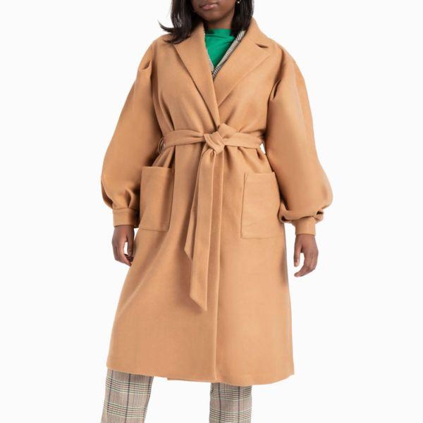 Eloquii Puff Sleeve Robe Coat