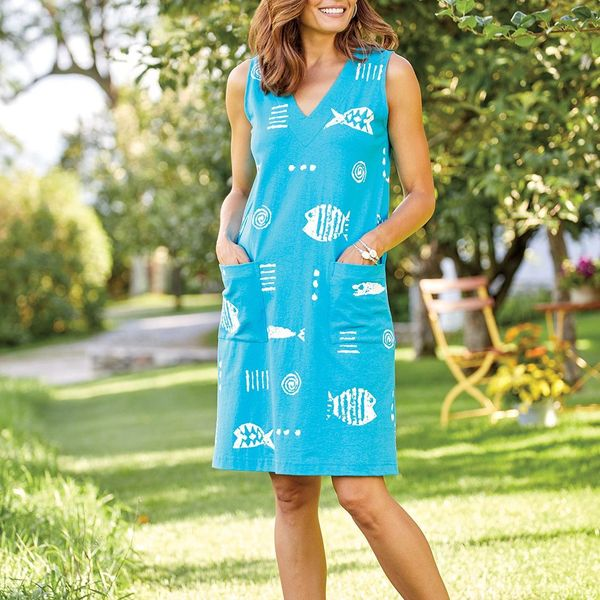 M.MAC Rock Fish Knee-Length Sleeveless Dress With Pockets