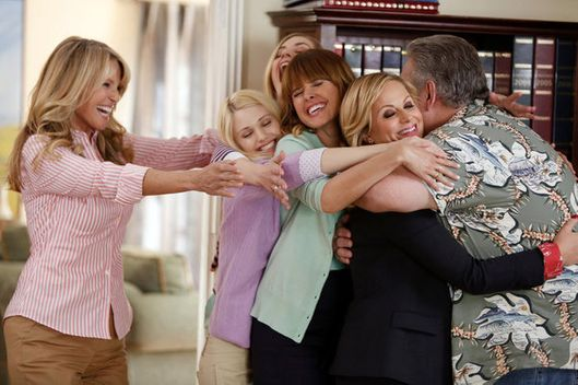 "PARKS AND RECREATION -- ""Jerry's Scrapbook"" Episode 521 -- Pictured: (l-r) Christie Brinkley as Gayle, Sarah Wright as Millicent, Amy Poehler as Leslie Knope, Jim O'Heir as Jerry Gergich -- (Photo by: Tyler Golden/NBC)"