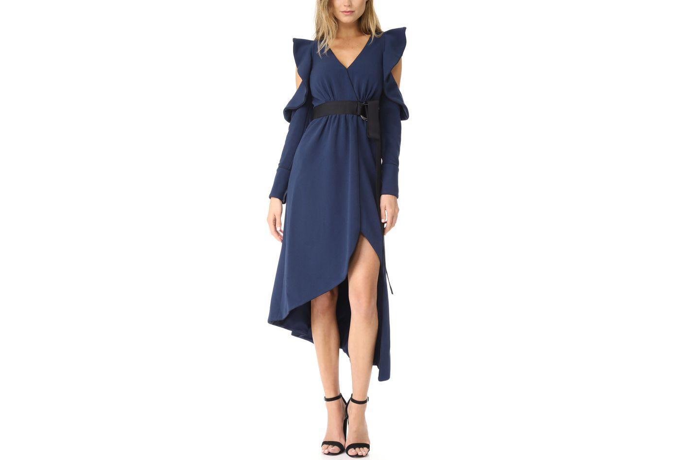 Self Portrait Navy Asymmetric Wrap Dress