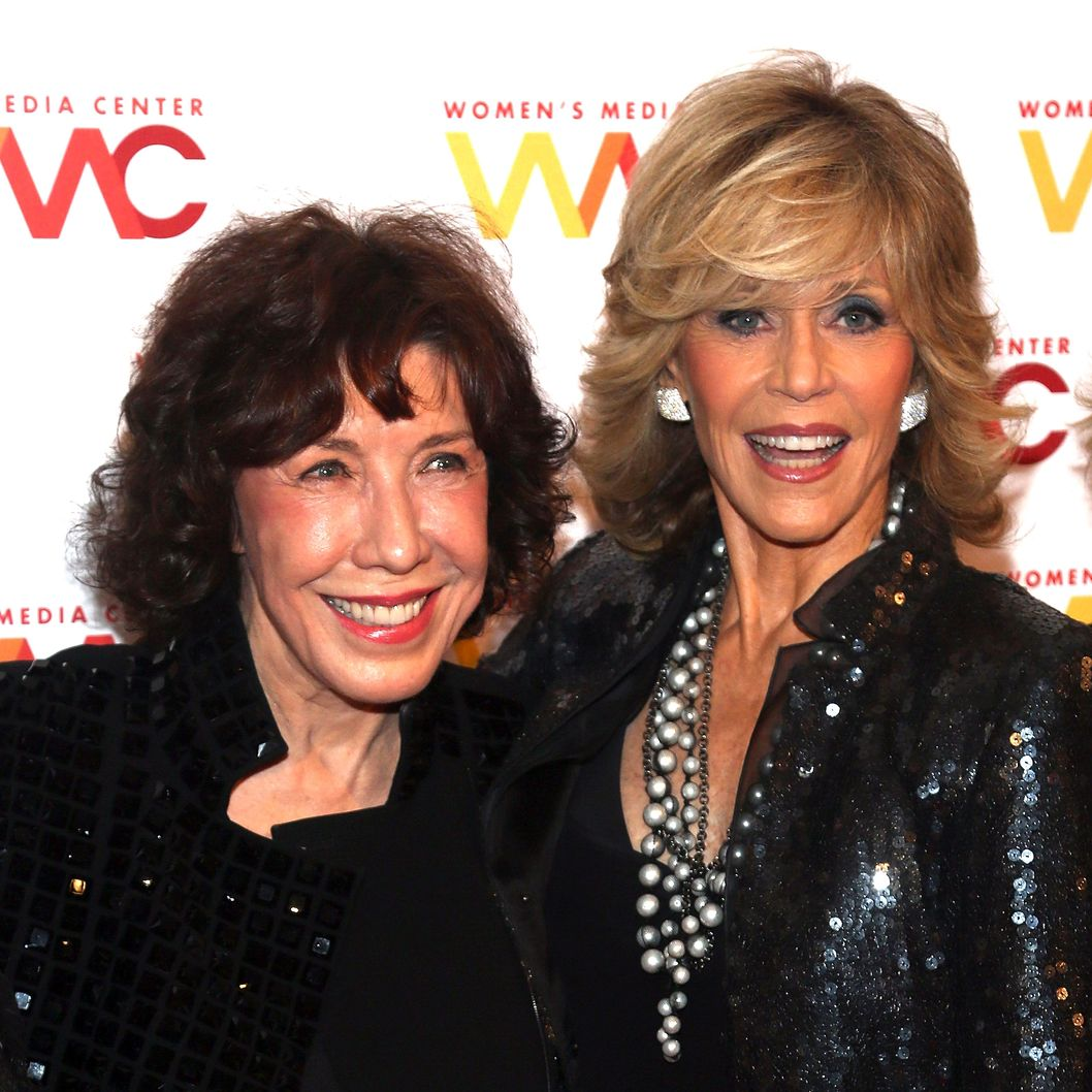 NEW YORK, NY - OCTOBER 08:  Lily Tomlin (L) and Jane Fonda attend the 2013 Women's Media Awards at 583 Park Avenue on October 8, 2013 in New York City.  (Photo by Paul Zimmerman/WireImage)