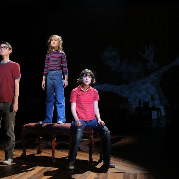 Beth Malone, Sydney Lucas, and Alexandra Socha in Fun Home, with music by Jeanine Tesori, book and Lyrics by Lisa Kron, based on the Alison Bechdel book, and directed by Sam Gold, running at The Public Theater at Astor Place. Photo credit: Joan Marcus.