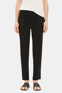 Eileen Fisher System Silk Georgette Crepe Slouchy Ankle Pant