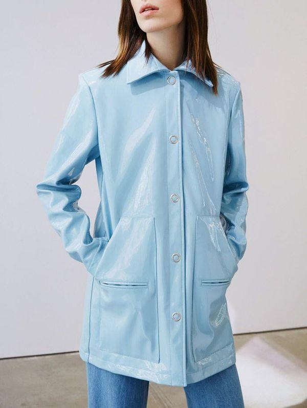 Sky Blue Patent Leather Coat