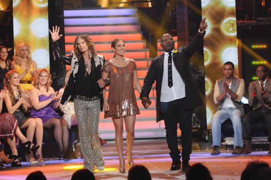 AMERICAN IDOL: L-R:  Judges Steven Tyler, Jennifer Lopez and Randy Jackson on AMERICAN IDOL airing Thursday, March 1 (8:00-10:00 PM ET/PT) on FOX. CR: Michael Becker / FOX.