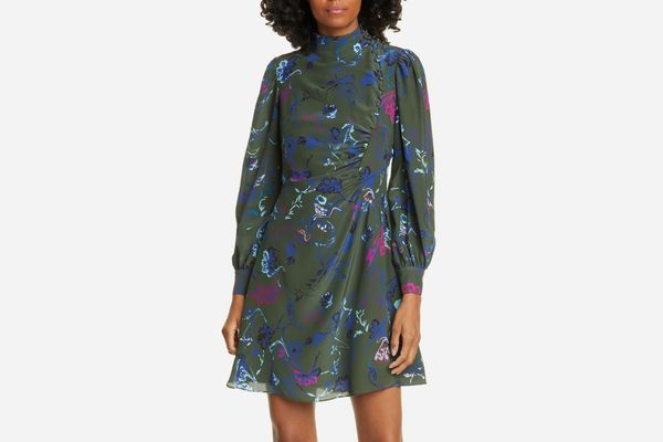 Tanya Taylor Clarisse Floral Button Detail Long Sleeve Silk Dress