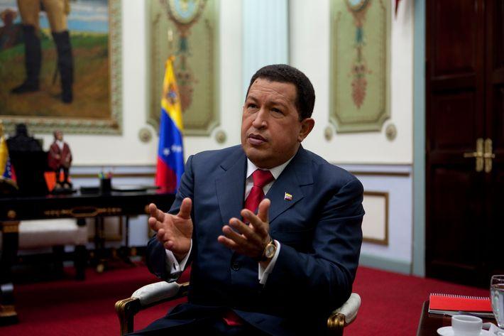 Venezuelan president Hugo Chavez at the presidential palace in Caracas.