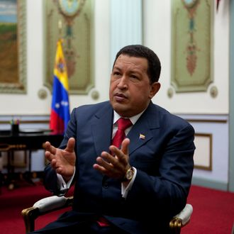 Venezuelan president Hugo Chavez at the presidential palace in Caracas.