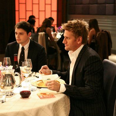 It's hard to look hunky when you're sitting next to Curtis Stone.