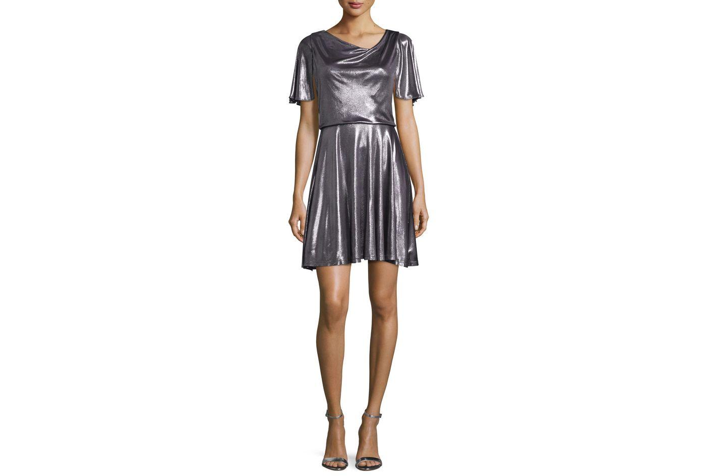 Halston Heritage Flutter-Sleeve Metallic Cocktail Dress