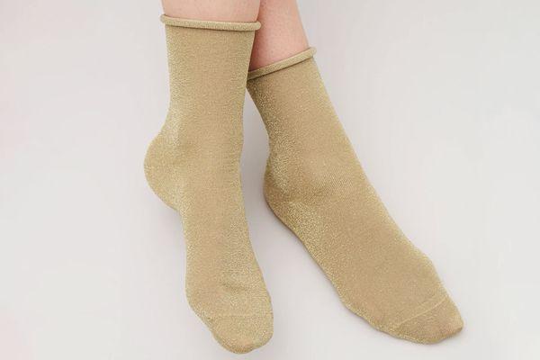 Cos Metallic Socks in Camel