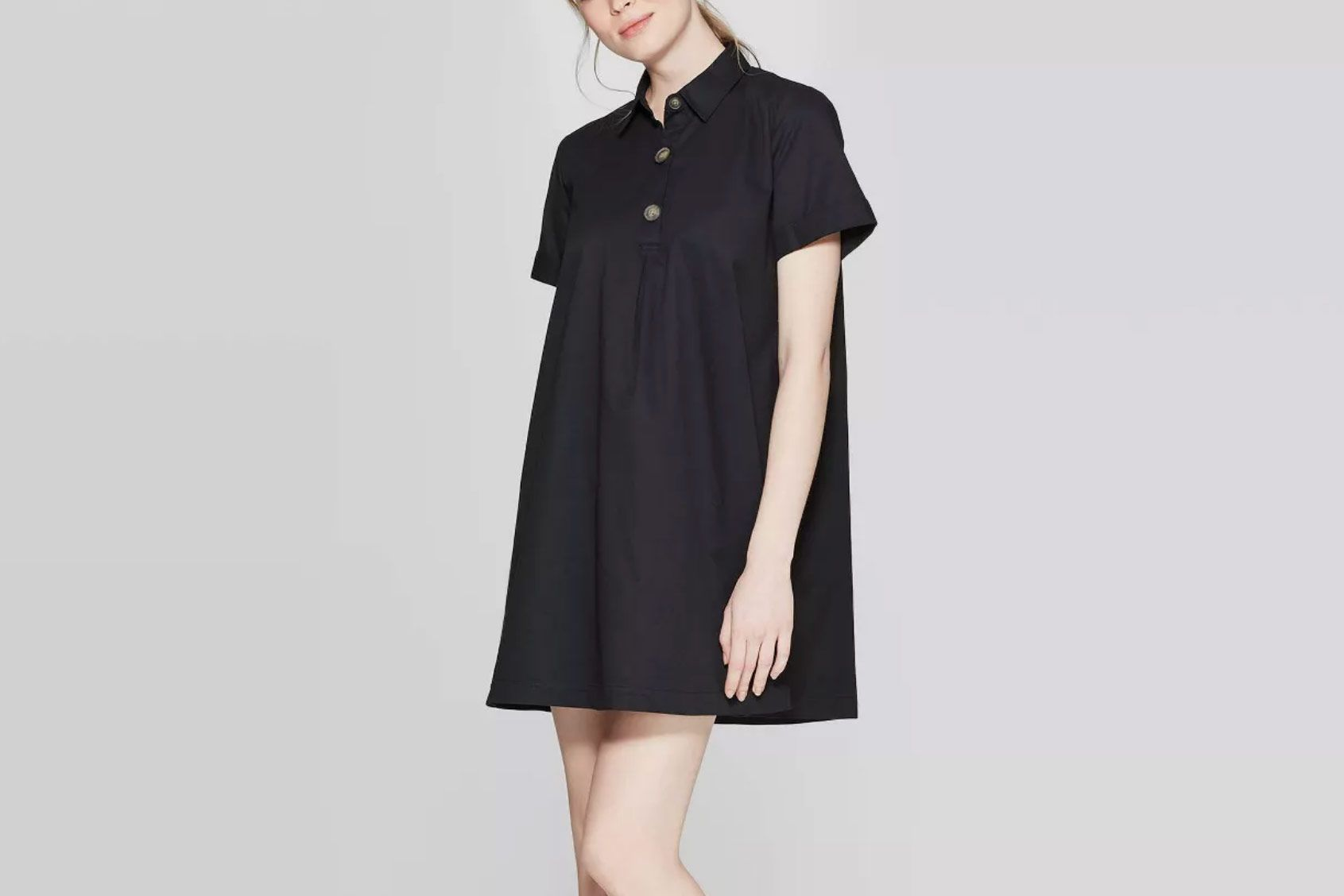 Who What Wear Women's Short-Sleeve V-Neck Trapeze Shirtdress