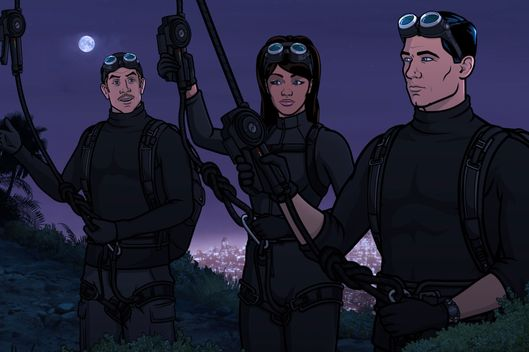"ARCHER -- ""The Figgis Agency"" -- Episode 701 (Airs Thursday, March 31, 10:00pm e/p) Pictured: (l-r) Agent Ray Gillette (voice of Adam Reed), Agent Lana Kane (voice of Aisha Tyler), Agent Sterling Archer (voice of H. Jon Benjamin). CR: FX"