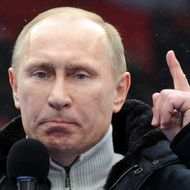 "Russian Presidential candidate, Prime Minister Vladimir Putin delivers a speech during a rally of his supporters at the Luzhniki stadium in Moscow on February 23, 2012. Prime Minister Vladimir Putin  vowed he would not allow foreign powers to interfere in Russia's internal affairs and predicted victory in an ongoing battle for its future. ""We will not allow anyone interfere in our internal affairs,"" Putin said in a speech to more than 100,000 people packed into the stadium and its grounds at Moscow's Luzhniki stadium ahead of March 4 presidential elections. AFP PHOTO / YURI KADOBNOV (Photo credit should read YURI KADOBNOV/AFP/Getty Images)"