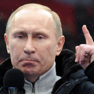 Russian Presidential candidate, Prime Minister Vladimir Putin delivers a speech during a rally of his supporters at the Luzhniki stadium in Moscow on February 23, 2012. Prime Minister Vladimir Putin vowed he would not allow foreign powers to interfere in Russia's internal affairs and predicted victory in an ongoing battle for its future.