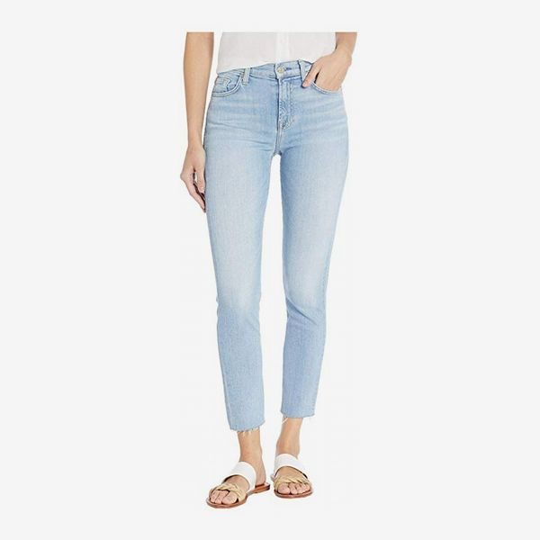 7 For All Mankind High-Waisted Roxanne Ankle light-wash jean in Roxy Lights with a white shirt and white and gold sandals. 33 Things on Sale You'll Actually Want to Buy: From Adidas to Le Creuset - The Strategist