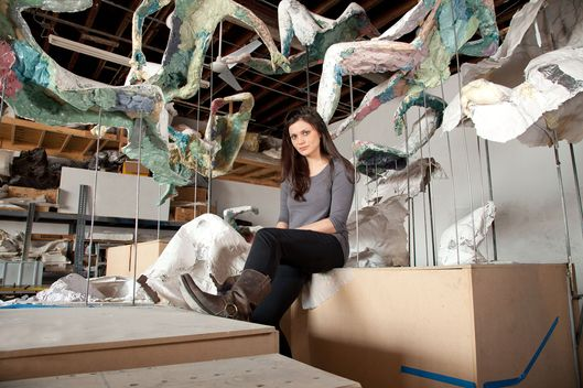 Diana Al-Hadid in her Brooklyn studio.