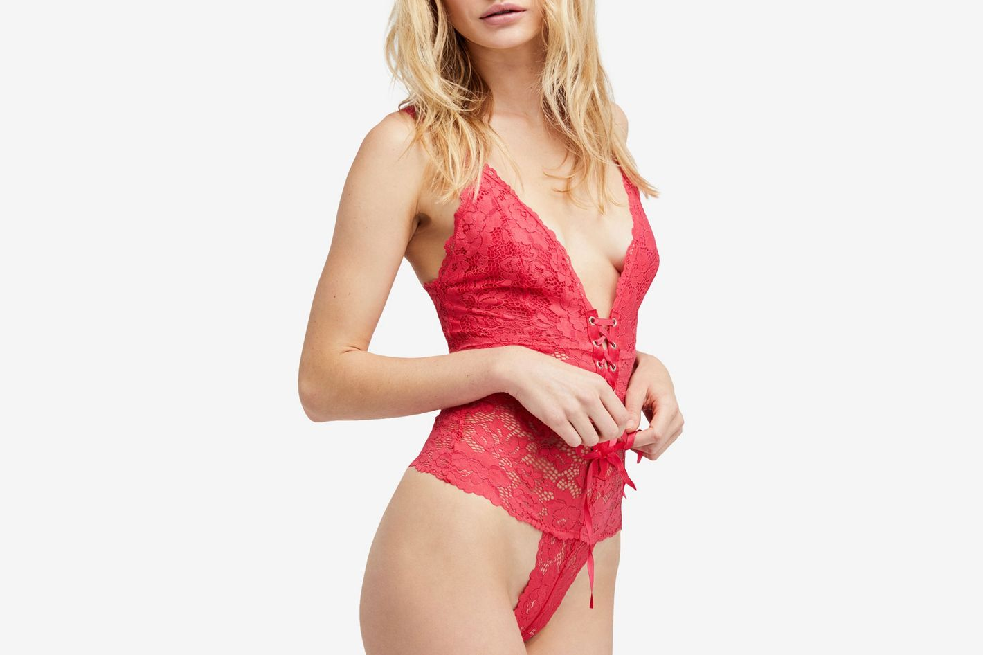 Free People Gazy Eyes Lace-Up Bodysuit