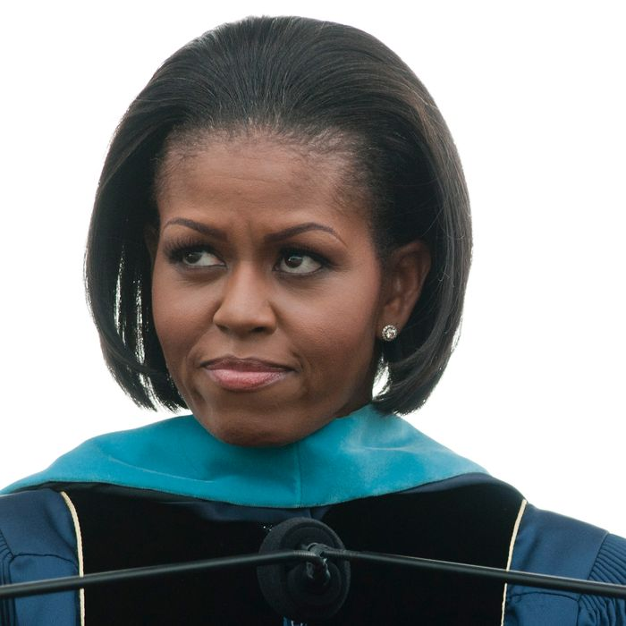 WASHINGTON - MAY 16: Michelle Obama speaks during the 2010 George Washington University commencement at the National Mall on May 16, 2010 in Washington, DC. (Photo by Kris Connor/Getty Images) *** Local Caption *** Michelle Obama
