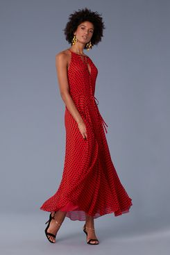 Diane von Furstenberg Keyhole Waist Tie Maxi Dress
