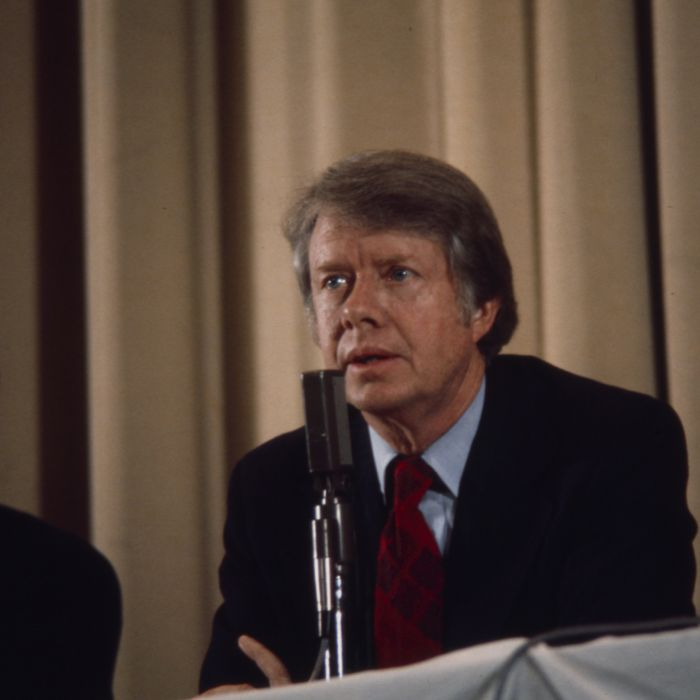 Governor Jimmy Carter speaking at campaign event, ABC News coverage of the 1976 New Hampshire presidential primary.