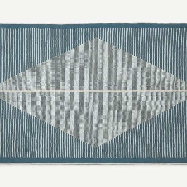 Camden Diamond Wool Rug, Large 160 x 230cm, Teal and White
