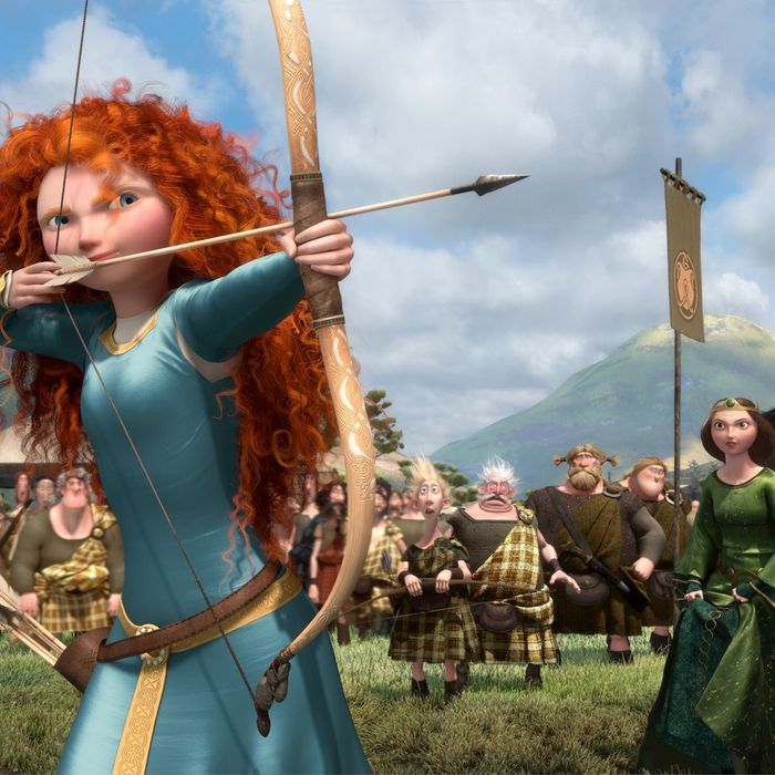 """""""BRAVE"""" (L-R) LORD MACINTOSH and his son, YOUNG MACINTOSH; MERIDA, WEE DINGWALL and his father, LORD DINGWALL; LORD MacGUFFIN and his son, YOUNG MacGUFFIN; QUEEN ELINOR and KING FERGUS."""