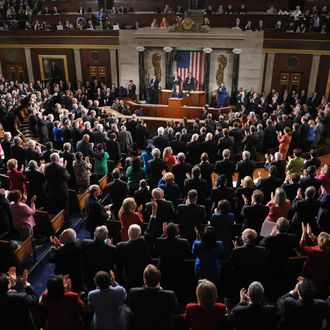 US President Barack Obama receives applause as he delivers his State of the Union address before a joint session of Congress January 24, 2012 on Capitol Hill in Washington, DC. AFP PHOTO Mandel NGAN (Photo credit should read MANDEL NGAN/AFP/Getty Images)